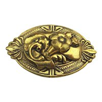 Art Deco Molded Gilded Brass Pin Brooch