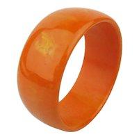 Wide Juicy Tangerine Bakelite Bangle Bracelet