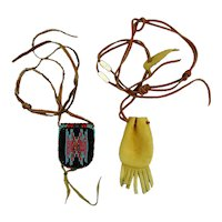 Pair Vintage Native American Mini Purse Necklace