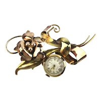 Art Deco Gold-Filled on Sterling CRAWFORD Watch Lapel Pin Brooch