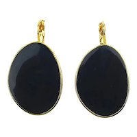 Sleek Black Stone in Goldtone Kenneth Lane Earrings