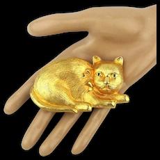 Big Goldtone CAT Figural Belt Buckle