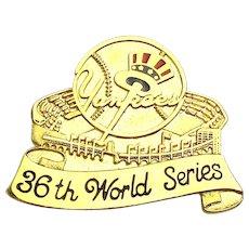 1996 New York Yankees Lapel Pin 36th World Series - Original Box