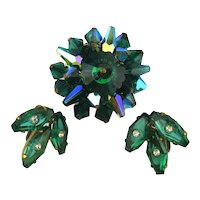 Aurora Borealis Crystal Pin w/ Sterling Crystal Earrings