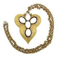 JOMAZ Big Cream Enamel Milk Glass Pendant Necklace