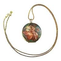Victorian Style Lesbian Art Transferware Locket w/ Cupid - Sterling Silver Chain