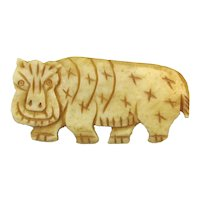 Hand-Carved Bone Vintage HIPPO Pin Brooch Beware of the Smile