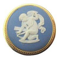Gold-Filled Wedgwood Jasperware Cameo CUPID Pin Brooch Pendant
