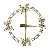 Antique Victorian Gilt Wire Faux Buckle w/ Paste Rhinestones Pendant