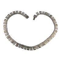 Sterling Silver Greek Key Link Necklace w/ Acropolis of Athens