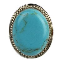 Big Sterling Silver Ring w/ Large Turquoise Colored Stone
