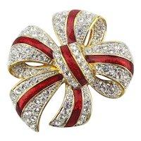 Vintage Joan Rivers Enamel Jeweled Bow Pin Brooch