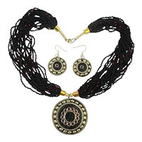 Sultry Bohemian Necklace Earrings Set Glass n Brass