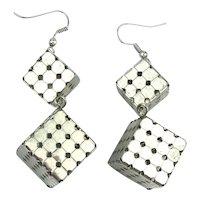 Modernist Boxy Cubist Dangle Earrings Steely Grids