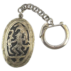 Old Mexican 925 Silver Key Ring Aztec Mayan Warrior Key Chain