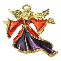 Vintage Christopher Radko Enamel Angel Pin Brooch
