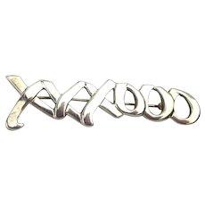 1983 Tiffany & Co. Paloma Picasso XXXOOO Hugs Kisses Sterling Silver Pin Brooch
