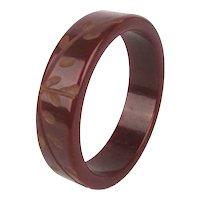 Old Carved Bakelite Bangle Bracelet Rust Color Russet