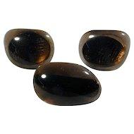 Big Bold Modernist Smoky Glass Cufflinks & Tie Clasp