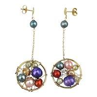 Pearls in a Net Dangle Earrings
