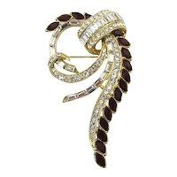 Art Deco Style Swarovski Pin Brooch Red n Clear Crystal Rhinestones