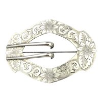 Victorian C.B. & H. Sterling Silver Large Sash Pin Brooch Etched