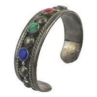 Old Taxco 925 Sterling Silver Cuff Bracelet w/ Gems