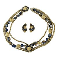 KRAMER Art Glass Beads Goldtone Necklace Earrings Demi Set
