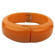 Pumpkin Bakelite Hinge Bracelet w/ Unique Carved Clasp