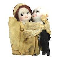 Antique Bisque Mini Dolls Kewpie Rose O'Neill Bride Groom Wedding Couple