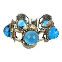 Big Chunky Bracelet w/ Blue Blobs of Glass