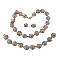 Fabulous Venetian Art Glass Bead Parure Necklace Bracelet Earrings Set