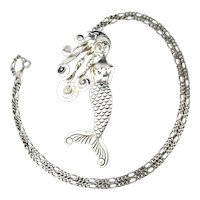 Sterling Silver Figural MERMAID Pendant Necklace
