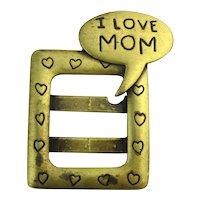 JJ Jonette Jewelry I LOVE MOM Photo Frame Pin Brooch