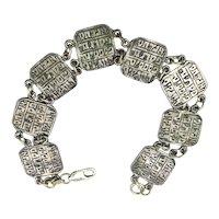 Vintage Judaica Sterling Silver Link Bracelet Signed IMP