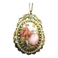 Victorian Romantic Couple Pendant Necklace 2 Sides Porcelain Pearls G.F. Filigree