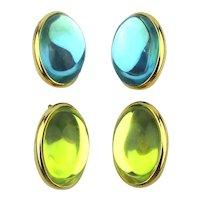 Vintage TRIFARI Colored Moonstone Clip Earrings Big Baubles