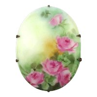 Victorian Porcelain Hand-Painted Pin Brooch Pink Roses