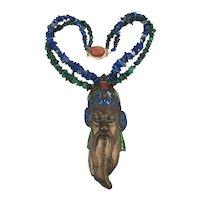 Vintage Necklace Enamel Copper Chinese Wise Man Lapis Malachite Beads