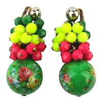Colorful 1960s Clip Earrings Italian Designer Connection