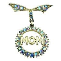 MOM Aurora Borealis Crystal Rhinestone Pin Brooch