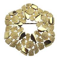 Vintage CROWN TRIFARI Two-Tone Gold-Tone Pin Brooch