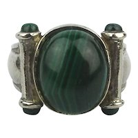 Solid Sturdy 925 Sterling Silver Malachite Ring Unisex 9