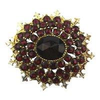 Signed ART Bohemian Faux Garnet Rhinestone Pin Brooch
