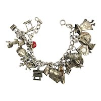 Sterling Silver Charm Bracelet w/ 20 Great Figural Charms