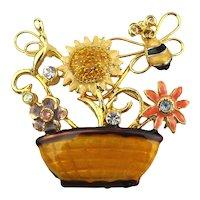 Enamel Rhinestone Flower Basket Pin w/ Busy Bee