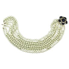 Kenneth Lane 8 Strand Faux Pearl Necklace w/ Big Jeweled Clasp