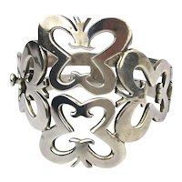 Big Taxco Mexican Sterling Silver Hinged Bracelet 92 Gr.