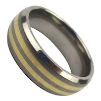 Titanium Ring Band w/ 14K Yellow Gold Stripes