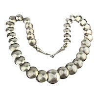 Vintage Ina J Nez Navajo Sterling Silver Necklace Pillow Beads 925